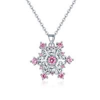 Kristall Schneeflocke Anhänger Halsketten Schmuck Dame Frauen Weißes Gold Überzogener Diamant Schneeflocke mit Gliederkette Winter Wonderland Weihnachtsgeschenk