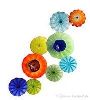 Итальянский дизайн выдувное стекло пластины Рука выдувное стекло висячего Тарелки турецкий Murano цветок Shaped Стеклянные пластины