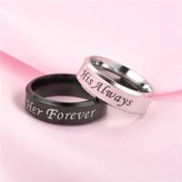 Engajamento de aço inoxidável dele sempre dela para sempre anéis de banda carta jewerly acessórios mulheres homens casamento casal anel de anel