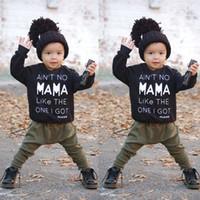 2019 nouveau-né enfant en bas âge enfant bébé garçon vêtements automne hiver vêtements lettre T-shirt à manches longues + pantalons longs tenues ensemble