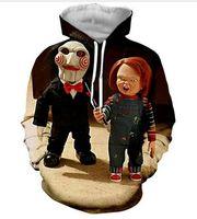 Yeni Moda Hoodies Korku filmi Karakter Chucky 3D Baskı Erkek Kadın Spor Kazak Tasarımcı Hoodie Kazak Uzun Kollu Streetwear