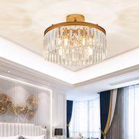 현대 럭셔리 크리스탈 샹들리에 천장 조명 표면은 침실 복도에 둥근 천장 램프 LED 조명 골드 샹들리에를 장착