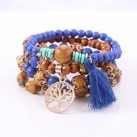 Bohemian Multilayer Charm Bracelets Colorul Wood Beads Pulsera Árbol de vida Colgante Playa Playa Bañones Elásticos Para Mujeres Hombres Joyería DHL