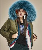 Guarnição da pele do guaxinim azul Jazzevar marca jaqueta bomber mulheres jaquetas quentes azul listra vermelha forro de pele de raposa do exército verde nylon bombardeiro parkas