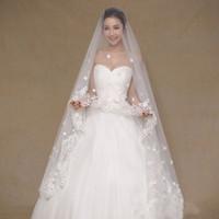 2,5 metros véus de casamento luxuosos para borda de renda nupcial com flores e acessórios de casamento frisados Voile Mariage