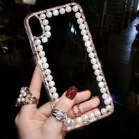 Luxury Pearl Rhinestone Phone Case Transparent Cover Diamond...