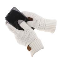 Мода- Вязание Перчатки с сенсорным экраном Емкостные перчатки Женские зимние теплые шерстяные перчатки Противоскользящие вязаные перчатки для телефинтов Рождественские подарки