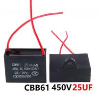 CBB61 450VAC 25uF ventilador condensador de arranque longitud de cable de 10 cm con la línea de