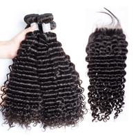 4 * 4 스위스 레이스 클로저 4 + 1 말레이시아 머리 기계 더블 웨씨 자연 검은 색이있는 딥 웨이브 인간의 머리카락 번들