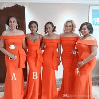 Nuova arancione arancione a buon mercato sirena damigella d'onore abiti africana fuori spalla raso satinato abito da sposa abiti da ballo abiti abiti da sposa Plus size Robes de Demoisel
