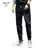 Jeans masculinos rljt.jin tendências direção alta rua baggy harem calças mens ocasional que volta heads estilo simples japonês