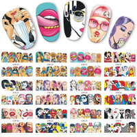 12pcs / set Pop Art Designs Aufkleber DIY Wassertransfer Nagel-Kunst-Aufkleber Cool Girl Lippenschmuck Voll Wraps Nails JIBN385-396