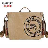 2019 Vintage Men' s Briefcase Canvas Men Messenger Bag C...