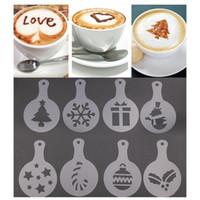 8 adet / takım Cafe Köpük Sprey Şablon Barista Şablonlar Fantezi Kalıp Noel Kahve Dekorasyon Aracı Baskı Çiçek Modeli Plastik DH0577-2