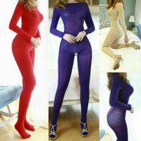 Talla grande Unisex Jumpsuit Hombres Mujeres 200D Velvet Lencería Lencería Pantyhose Cuerpo Adicional Body Body Hook Full Bodystocking