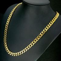 18K Gold заполнена мужская сплошная цепь длинного ожерелья бордюр кольцо Link ювелирные изделия