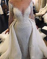 Luxe pleine perle perlée Sirène Robes de Mariée avec détachable train Vintage manches longues Arabie arabe Taille Plus robe de mariée