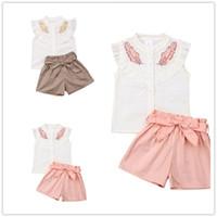 IN-Baby-Kleidungs-Satz gekräuselten Bluse Top T-Shirt + bowknot kurzen Hosen zweiteilige Anzüge Mädchen Blatt-T-Shirts Sommer-Satz Trainings E3301