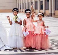 결혼식 계층 새틴와 얇은 명주 그물 레이스 제 1 통신 드레스 발목 길이 소녀 미인 대회 드레스를 들어 공주 아프리카 꽃의 소녀 드레스