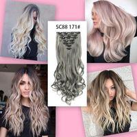 16 clips Peinados ondulados largos Clip ombre sintético en la extensión del cabello Peinados falsos resistentes al calor Rubio Marrón 32 colores