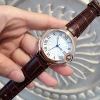 Ventas calientes de moda reloj mujer / hombre relojes amantes de cuero genuino reloj de pulsera de plata / oro rosa dama relojes El mejor regalo de moda marca nuevo reloj