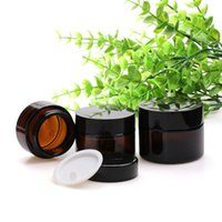 Âmbar Eye Cream Jar 20g 30g 50g vazio vidro Lip Balm Recipiente de boca larga Cosmetic Jar amostra com tampão preto