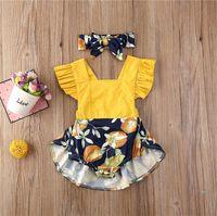 Baby-Spielanzug-Kleid-Sommer-Kombis Halter mit Stirnband gekräuselte Ärmel Strapse Jumpsuits Bodysuits Stirnband Zwei Stücke Set E33002