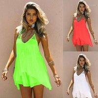 Spagetti Askı Seksi Yaz Günlük Elbiseler Kadınlar Şeker Renk Plaj Şifon Elbise