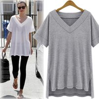 Summer Cotton Oversize Irregular Women Tops Tee Sexy Loose P...