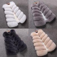 Bzoosio manera más la mujer de las señoras sin mangas del chaleco de color sólido de la capa del invierno suelta de piel falsa chaleco de gran tamaño de la chaqueta S-4XL F