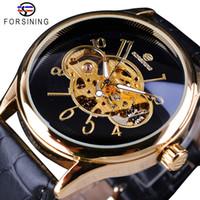 Forsining classique Creative Skeleton travail de conception d'or Transparent ouvert Montre Homme Top Marque de luxe mécanique Montre-bracelet