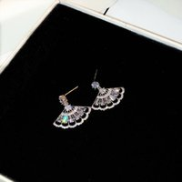 Super scintillante! stilista diamante zircone a forma di ventaglio vintage orecchini pendenti pendenti lampadario pendente per donna ragazze perno in argento S925