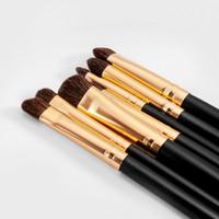 7 adet Makyaj Fırçalar Set Profesyonel Göz Farı Fırçalar Altın Siyah Karıştırma Makyaj Fırça Setleri Makyaj Fırçalar
