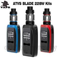 100% Original ATVS Blade Vape Mod Starter Kit 0.96 polegadas OLED Tela Big Screen 228W Dual 18650 Bateria 5ml Subohm Atomizador E Cigarros DHL GRÁTIS