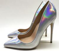 19 neue Laser Magie Farbe Frauen rot unten High Heel Schuhe 8cm 12cm 10cm Größe 44 Cusp Fine Heel Single Schuhe Nachtclub Braut Hochzeit