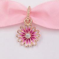 Autentica 925 perline in argento sterling 925 rosa daisy fiore ciondolo fascino charms adatti collana di gioielli in stile pandora europeo collana 788771c01