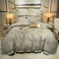 Chic Home Elegent Lace Embroidery Bedding Set Grey Purple Eg...