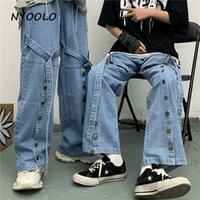 Jeans feminino nyoroy novty design fita única-breasted lavado azul mulheres homens casual rua hip hop cheia de comprimento largo perna calças denim