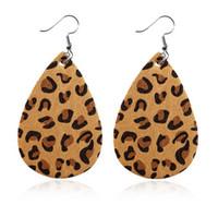 Кожаные серьги леопардовой Кожи Серьги мотаться Hook кожи Teardrop серьги для женщин
