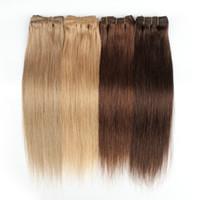 Kisshair 7PCS / Установить клип в наращивание волос # 4 Темно-коричневый # 27 Медовая блондинка # 30 Средний Обезжав на уток