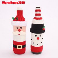 Christmas Decorations Santa Claus Wine Bottle Cover Snowman ...