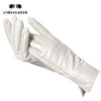 Белые кожаные женские перчатки, натуральная кожа, подкладка хлопка теплые, модные кожаные перчатки, кожаные перчатки, теплая зима-2226 CJ191225