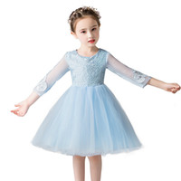 New Flower Girls Dress Children Lace Sleeves Tulle Party Wed...