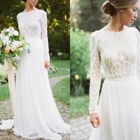 Vestidos de novia del país bohemio con mangas largas Bateau cuello de un cordón de línea apliques de chifón boho boho vestidos de novia
