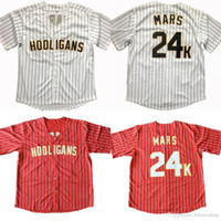 Billiger Bruno Mars 24k Hooligans Baseball Jersey Bruno Mars Baseball-Trikots Rote Weiße Männer Alle genähten Baseball-Trikots Freies Verschiffen