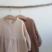 Vestido de niña vestido de la princesa Latterm muchacha de lino ropas del Ins sweet niños vestidos de niña informal Japón Corea ropa de moda Y200102