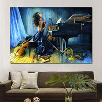 Canvas art Music paintings girl playing piano Handmade sexy ...