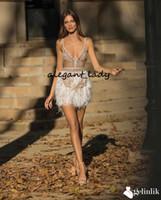 Seksi Spagetti Kısa Balo Parti Elbiseler Lüks Tasarım Sparkly Gelinlik Kristal Tüy Boncuklu Mini Kokteyl Akşam Giyim Abiye