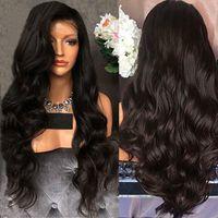 Горячая мода натуральный полный парик средней длины длинные вьющиеся волосы пушистые черные длинные волосы Высокотемпературный шелк синтетический парик повседневная одежда
