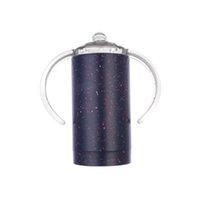 Neues Design Sippy Cup 12z Kid Wasserflasche Edelstahl Tumbler Mit Griff Vakuum isoliert Leckfest Reisende Tasse Baby Flasche